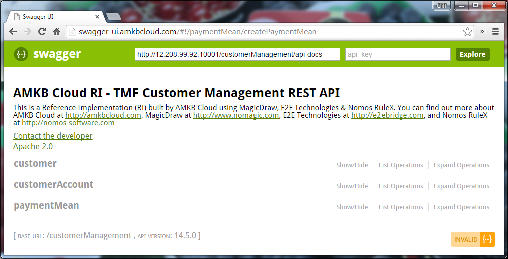 Swagger UI for Customer Management API
